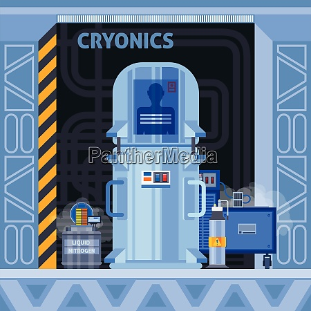 cryogenic crionics transplantation flat composition with