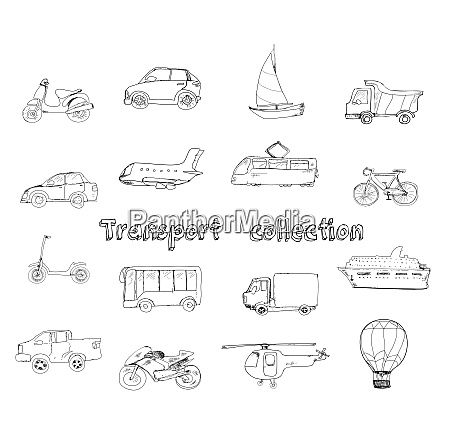 transport doodle set with motorcycle car