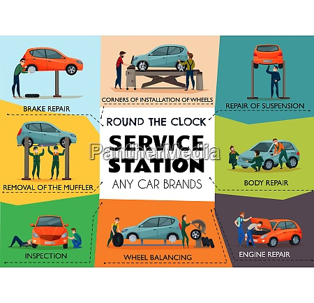 car service poster with service station