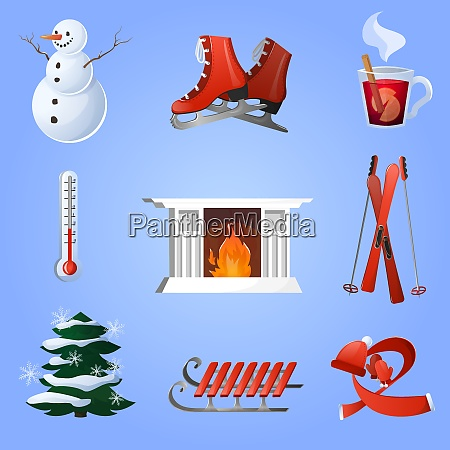 winter decorative icons set with ski