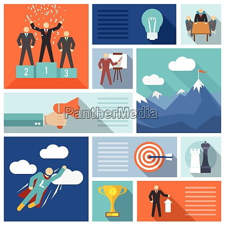 leadership icons flat set with planning