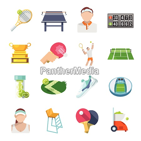 tennis sport game icons set with