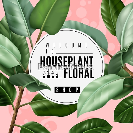 floral shop poster with realistic house
