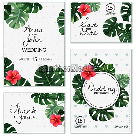 set of wedding cards with leaves