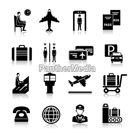 airport icons black set with baggage