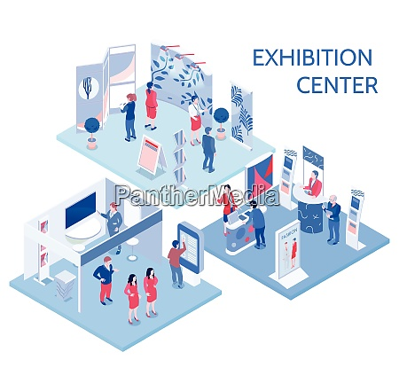exhibition center isometric compositions with people