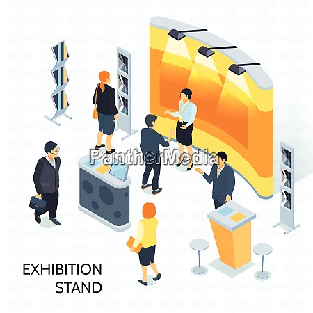 exhibition isometric vector illustration with visitors