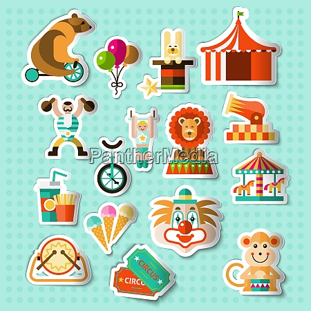 circus entertainment paper stickers set with