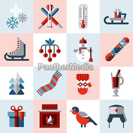 winter icons set with snowman christmas