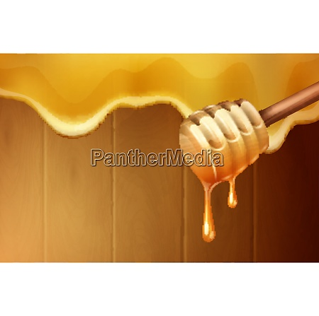 dripping melting honey drops background with