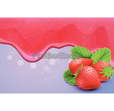 dripping melting strawberry jam drops background