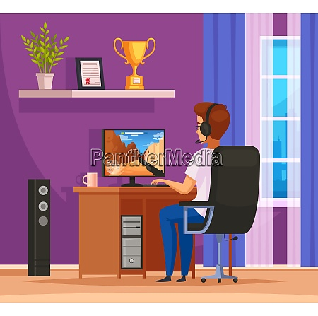 cybersport gaming character cartoon composition with