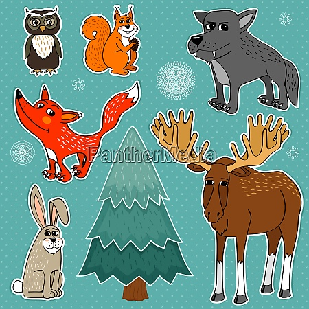 winter forest cute animals set vector