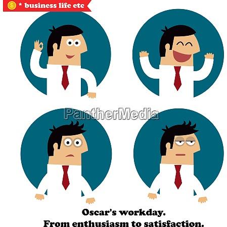 business emotions set of enthusiasm joy