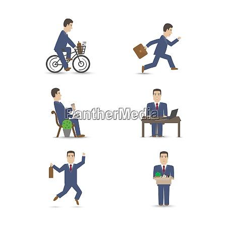 business office people scenes set vector