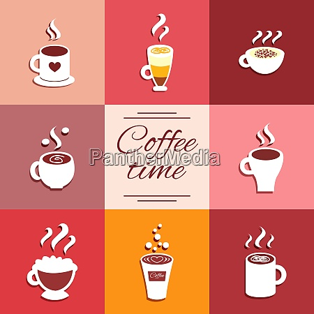 collection of cup icons with hot
