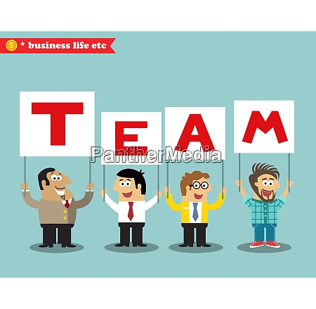 business life office personnel holding team