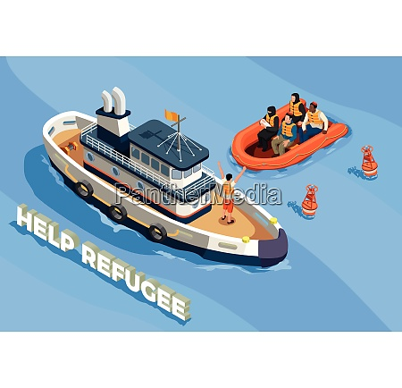 stateless refugees asylum icons isometric composition