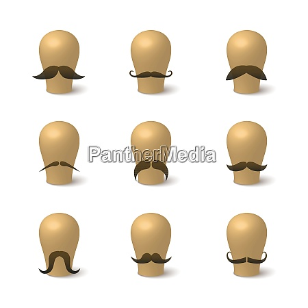 collection of hipster mustaches on hat