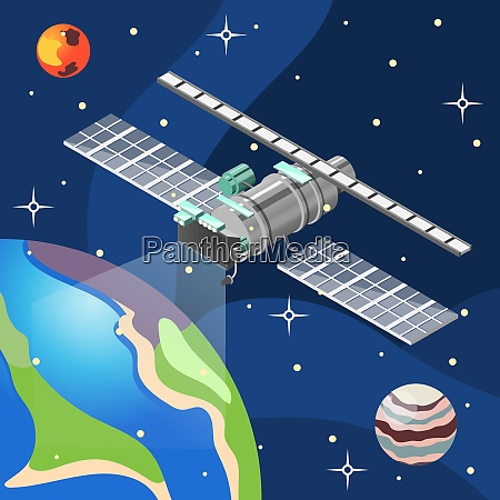 weather satellite with meteorology equipment in