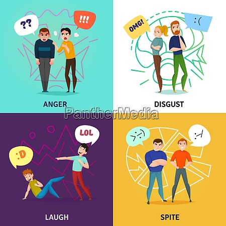 people and emotions concept icons set
