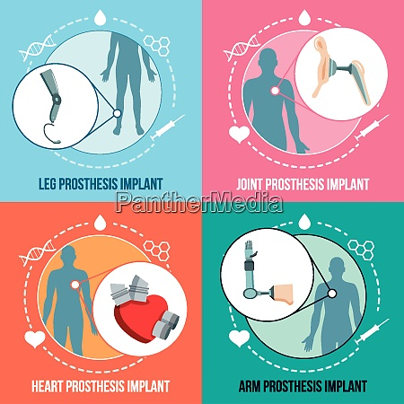 prothesis medical implants concept flat icons