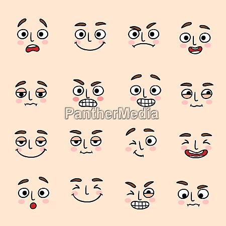 facial mood expression icons set of