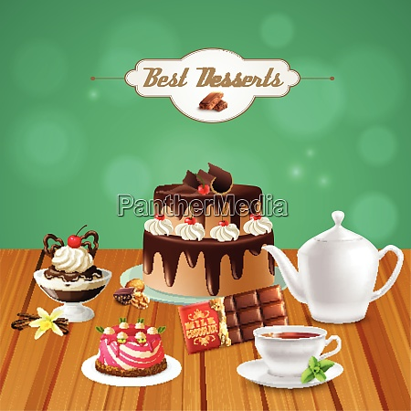 tea with chocolate desserts on wooden