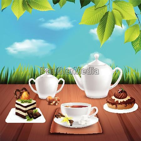 tea crockery with chocolate desserts on