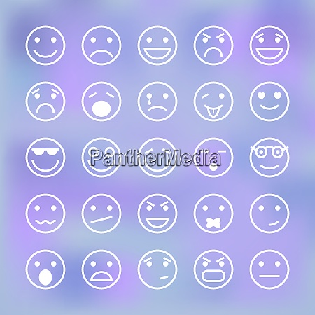 icons set of smiley faces for