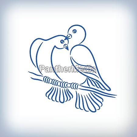 symbol of two lovely pigeons who