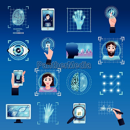 identification technologies symbols icons set with