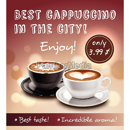 coffee advertisement art poster with offer