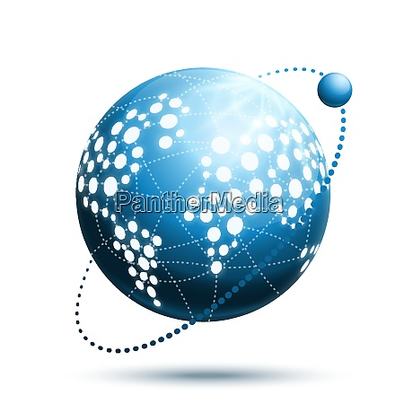 abstract world icon with navigation technology