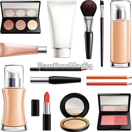 cosmetics packages and makeup tools for