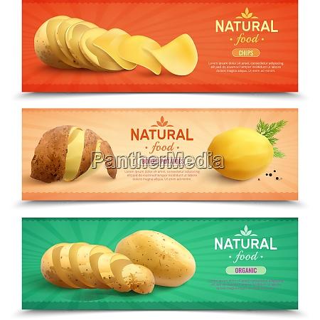 natural food horizontal banners set of