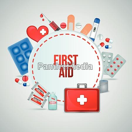 first aid kit realistic circular frame