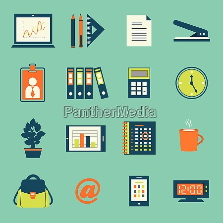 business office stationery icons set of