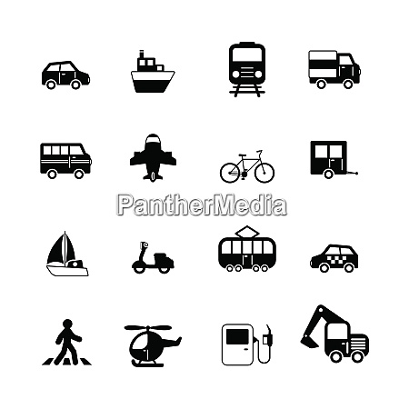 transportation pictograms collection of car truck