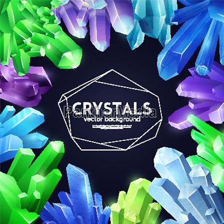 vibrant violet bright green blue crystals