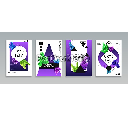 colorful crystals 4 realistic decorative banners