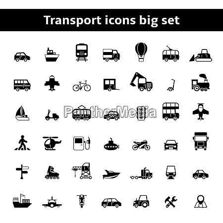 set of universal transportation vehicles pictograms
