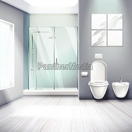 simple bathroom interior realistic composition