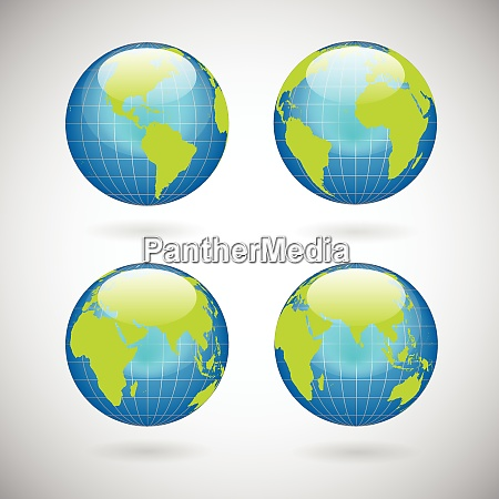 earth globe icons set with world