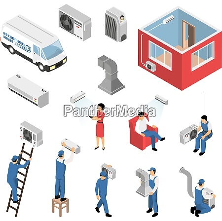air conditioners service isometric set with