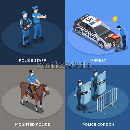 police isometric concept icons set with