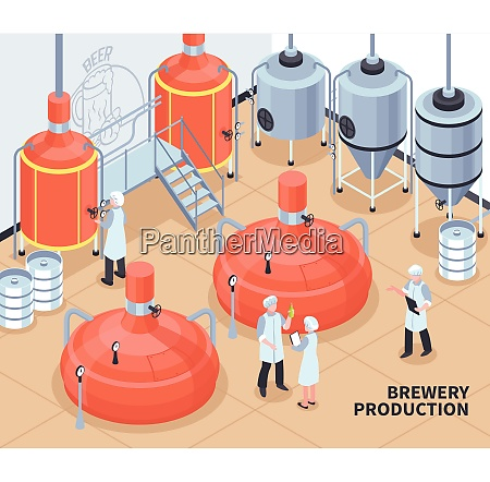 brewery beer production process isometric composition