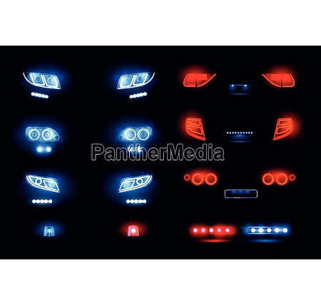 automotive led lights realistic set with