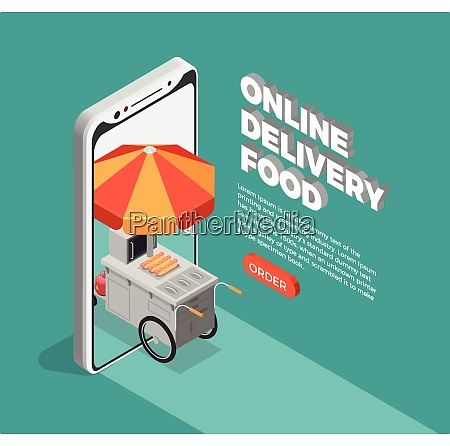 street food delivery concept with online