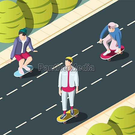 skateboarding urban background with teenagers on